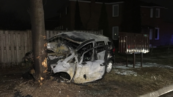 Police say a man is lucky to be alive after he crashed his vehicle into a tree and the car burst into flames. (Mike Nguyen/ CP24)