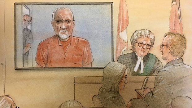 Bruce McArthur appears in court via video link on March 14, 2018. (John Mantha/ CTV News Toronto)