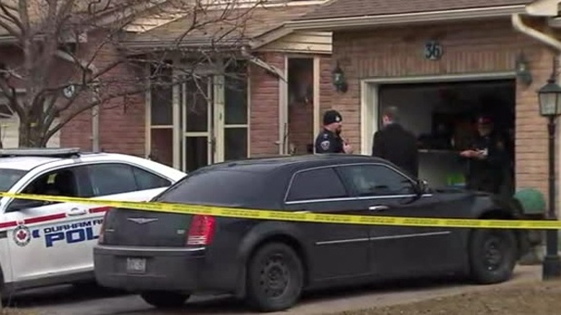 Police are seen at a home on Hilling Drive in Ajax on Mar. 14, 2018. (CP24)