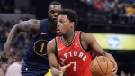 Toronto Raptors' Kyle Lowry goes to the basket against Indiana Pacers' Lance Stephenson during the first half of an NBA basketball game Thursday, March 15, 2018, in Indianapolis. (AP Photo/Darron Cummings)