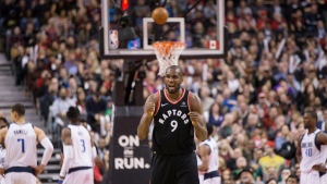 Toronto Raptors forward Serge Ibaka (9) reacts to a foul call in the last few seconds of second half NBA basketball action against the Dallas Stars in Toronto on Friday March 16, 2018. THE CANADIAN PRESS/Chris Young