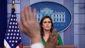 White House press secretary Sarah Huckabee Sanders speaks during the daily briefing at the White House in Washington, Thursday, March 15, 2018. Sanders answered questions about Russia, tariffs and other topics. (AP Photo/Susan Walsh)