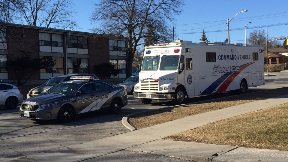 Police investigate a fatal shooting in the area of Scarlett Road and Lawrence Avenue West Saturday March 17, 2018. (Arda Zakarian /CP24)
