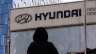 In this April 26, 2017, file photo, the logo of the Hyundai Motor Co. is displayed at the automaker's showroom in Seoul, South Korea. Air bags in some Hyundai and Kia cars failed to inflate in crashes and four people are dead. (AP Photo/Lee Jin-man, File)