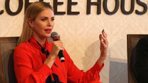 Actress Charlize Theron speaks at an event at the Global Education and Skills Forum in Dubai, United Arab Emirates, Saturday, March 17, 2018. (AP Photo/Jon Gambrell)
