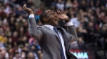 Toronto Raptors Head Coach Dwane Casey reacts during his team's 122-115 overtime win over the Dallas Mavericks during NBA basketball action in Toronto on Friday March 16, 2018. THE CANADIAN PRESS/Chris Young