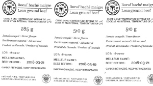 Labels attached to recalled Good Boucher brand beef are pictured.