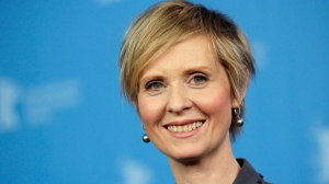 In this Sunday, Feb. 14, 2016, file photo, Actress Cynthia Nixon poses for the photographers during a photo call for the film 'A Quiet Passion' at the 2016 Berlinale Film Festival in Berlin, Germany. (AP Photo/Michael Sohn, File)