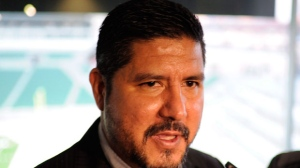 Anthony Calvillo talks to media before his induction into the Canadian Football Hall of Fame Class of 2017 at Mosaic Stadium in Regina, Sask., Wednesday, March 22, 2017. THE CANADIAN PRESS/Mark Taylor