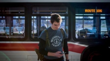 Chris Harding uses a transit diary app that he helped develop called City Logger at the Sheppard West TTC Station in Toronto on Monday, Oct. 2, 2017. THE CANADIAN PRESS/Chris Donovan