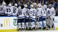 Toronto Maple Leafs head coach Mike Babcock calls the team in for a timeout during the third period of an NHL hockey game against the Tampa Bay Lightning Tuesday, March 20, 2018, in Tampa, Fla. The Lightning won the game 4-3. (AP Photo/Chris O'Meara)