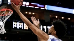 In this Saturday, March 17, 2018, file photo, Duke's Marvin Bagley III (35) shoots against Rhode Island during the first half of a second-round game in the NCAA men's college basketball tournament in Pittsburgh. Duke takes on Syracuse in a regional semifinal on Friday. (AP Photo/Keith Srakocic, File)