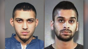 "Ronjot Singh Dhami, 25, and Parmvir ""Parm"" Singh Chahil, 21, are both wanted on Canada-wide warrants in connection with an aggravated assault at Square One in Mississauga. (Peel Regional Police handout photos)"