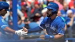 Toronto Blue Jays' Devon Travis, right, shakes hands with Luke Maile after scoring on an RBI single by Teoscar Hernandez off Philadelphia Phillies' Edubray Ramos during the fourth inning of a spring training baseball game Wednesday, March 21, 2018, in Dunedin, Fla. Plagued by injuries over his first three major league seasons, Travis has been a full participant in this spring training for the first time in years. THE CANADIAN PRESS/AP/Chris O'Meara