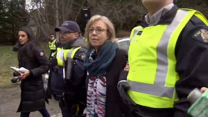 Green Party Leader Elizabeth May is led from the Burnaby, B.C. Kinder Morgan site on Friday, March 23, 2018.