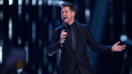 Host Michael Buble is shown on stage at the Juno Awards in Vancouver, Sunday, March, 25, 2018. THE CANADIAN PRESS/Darryl Dyck
