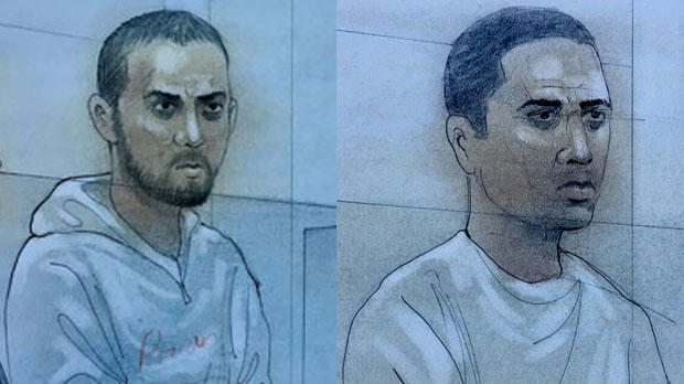 Parmvir 'Parm' Singh Chahil (left) and Ronjot Singh Dhami are seen in side-by-side court sketches. (John Mantha)