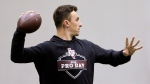 Former Cleveland Browns quarterback Johnny Manziel throws during drills at his alma mater during Texas A&M's football Pro Day in College Station, Texas, Tuesday, March 27, 2018. (AP Photo/Michael Wyke)