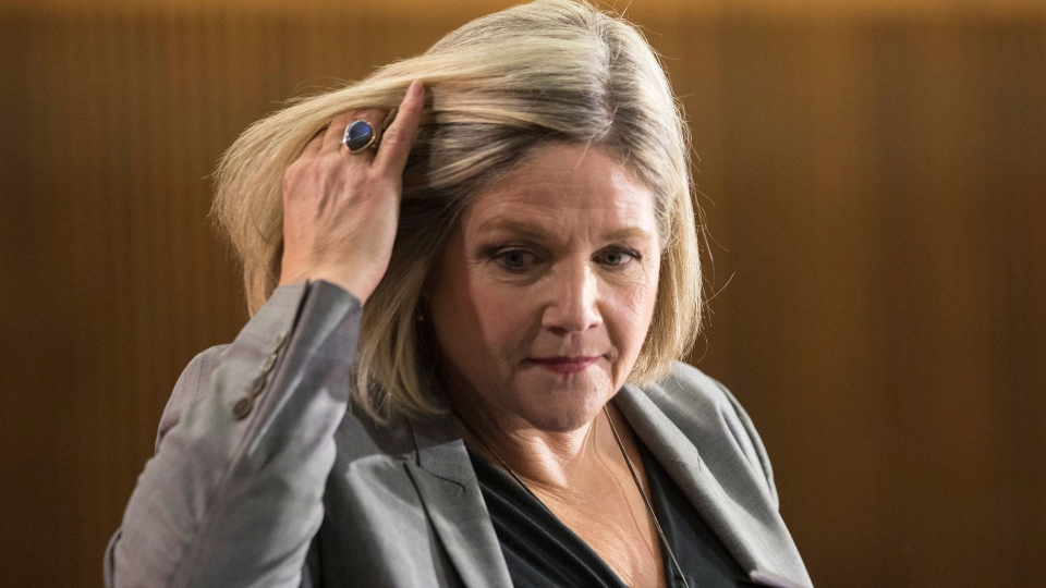 Ontario provincial NDP Leader Andrea Horwath turns after taking questions from journalists during a pre-budget lock-up, as the Ontario Provincial Government prepares to deliver its 2018 Budget at the Queens Park Legislature in Toronto on Wednesday March 28, 2018. THE CANADIAN PRESS/Chris Young