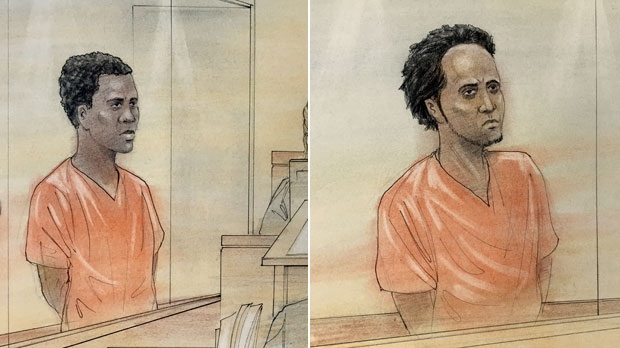 Trevaughan Miller, 19, and Abdullahi Mohamed, 22, are shown in these courtroom sketches. Both are charged with first-degree murder in the death of Nnamdi Ogba.