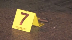 A shell casing is seen in the Sheppard and Longmore area on Mar. 29 after a shooting took place near a strip mall. (CTV News Toronto)
