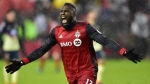 Toronto FC forward Jozy Altidore (17) celebrates his goal against Club América during first half CONCACAF Champions League semifinal action in Toronto on Tuesday, April 3, 2018. THE CANADIAN PRESS/Frank Gunn