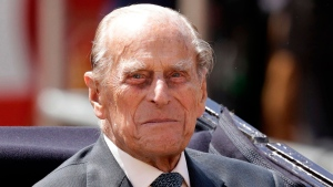 In this file photo dated Wednesday, July 12, 2017, Britain's Prince Philip sits in a carriage in London. (AP / Matt Dunham, FILE)