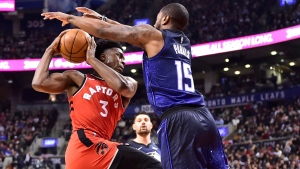Toronto Raptors forward OG Anunoby (3) is fouled by Orlando Magic guard Rodney Purvis (15) during first half NBA basketball action in Toronto on Sunday, April 8, 2018. THE CANADIAN PRESS/Frank Gunn