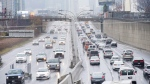 Vehicles makes there way into and out of downtown Toronto along the Gardiner Expressway in Toronto on Thursday, November 24, 2016. (THE CANADIAN PRESS/Nathan Denette)