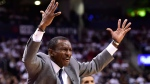 Toronto Raptors head coach Dwane Casey reacts during second half round one NBA playoff basketball action against the Washington Wizards in Toronto on Saturday, April 14, 2018. THE CANADIAN PRESS/Frank Gunn