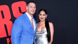 "In this Tuesday, April 3, 2018, photo, John Cena, left, and Nikki Bella attend the LA Premiere of ""Blockers"" at the Regency Village Theatre in Los Angeles. (Photo by Richard Shotwell/Invision/AP)"