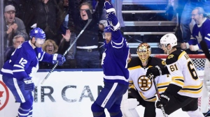 Toronto Maple Leafs centre Patrick Marleau (12) celebrates after scoring on Boston Bruins goaltender Tuukka Rask (40) during third period NHL round one playoff hockey action in Toronto on Monday, April 16, 2018. THE CANADIAN PRESS/Frank Gunn