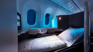 Air Canada's International Business Class cabin on the 787 Dreamliner is shown in a handout photo. Air Canada will be offering lie-flat seats on some North American routes as of June 1. THE CANADIAN PRESS/HO-Air Canada MANDATORY CREDIT