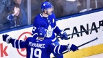 Toronto Maple Leafs centre Patrick Marleau (12) celebrates his goal with teammate Toronto Maple Leafs centre Tomas Plekanec (19) against the Boston Bruins during third period NHL round one playoff hockey action in Toronto on Monday, April 16, 2018. Plekanec waited for a chance to show Maple Leafs head coach Mike Babcock he was more than just a depth guy. And he picked the right time to prove himself. Plekanec had his best game as a Leaf on Monday in Toronto's Game 3 victory over the Boston Bruins to Babcock's satisfaction. THE CANADIAN PRESS/Nathan Denette
