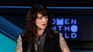 Italian actress and director Asia Argento speaks at the ninth annual Women in the World Summit Thursday, April 12, 2018, in New York. (AP Photo/Frank Franklin II)