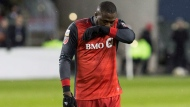 Toronto FC's Jozy Altidore reacts during first half CONCACAF Champions League final first leg action against Chivas de Guadalajara, in Toronto on Tuesday, April 17, 2018. THE CANADIAN PRESS/Chris Young