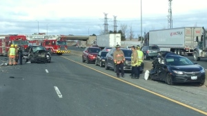 Vehicles involved in a crash on Highway 401 near Winston Churchill Boulevard in Mississauga are shown.