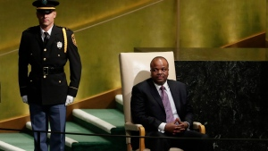 Swaziland's King Mswati III waits to address the United Nations General Assembly Wednesday, Sept. 20, 2017, at the United Nations headquarters. (AP Photo/Frank Franklin II)