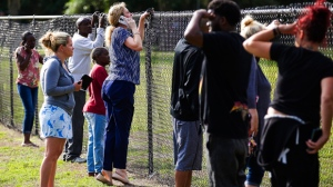Parents and loved ones looks over the fence for students after reports of a shooting at Forest High School Friday, April 20, 2018 in Ocala, Fla. One student shot another in the ankle at the high school and a suspect is in custody, authorities said Friday.  The injured student was taken to a local hospital for treatment.  (Doug Engle/Star-Banner via AP)