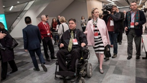 """Kent Hehr, MP for Calgary Centre, arrives with his wife Deanna Holt before attending a workshop titled """"Ensuring Safe Spaces and Ending Harassment"""" during the federal Liberal national convention in Halifax on Saturday, April 21, 2018. The former Sport and Disabilities Minister, Hehr resigned from cabinet following allegations of sexual harassment. THE CANADIAN PRESS/Darren Calabrese"""