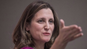 Chrystia Freeland, Minister of Foreign Affairs addresses the media during a news conference in Toronto on Thursday, March 8, 2018. NAFTA negotiating teams will keep bargaining through the weekend in an effort to get a deal by early May. THE CANADIAN PRESS/Chris Young