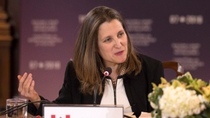 Canadian Minister of Foreign Affairs Chrystia Freeland chairs a meeting of her counterparts from France, United States, United Kingdom, Germany, Japan, Italy and the European Union during a Foreign Ministers' Working session discussing the Middle East, in Toronto on Sunday, April 22, 2018.THE CANADIAN PRESS/Chris Young