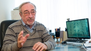 In this photo taken on Wednesday, April 11, 2018, Russian scientist Leonid Rink speaks during his interview to the Associated Press in Moscow, Russia. Rink was a leading scientist in a Soviet program to develop a new class of nerve agents dubbed Novichok, one of which Britain said was used to poison former Russian spy Sergei Skripal and his daughter. (AP Photo/Alexander Zemlianichenko)
