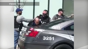 A viewer video obtained by CP24 shows the arrest of a man apprehended after the deadly van attack in North York on Monday.