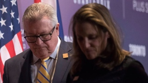 Canada's Minister of Public Safety Ralph Goodale and Canadian Minister of Foreign Affairs Chrystia Freeland step off a stage following a press briefing in Toronto on Monday, April 23, 2018.THE CANADIAN PRESS/Chris Young