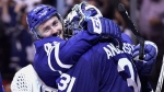 Toronto Maple Leafs centre Tyler Bozak (42) and goaltender Frederik Andersen (31) celebrate their win over the Boston Bruins in NHL round one playoff hockey action in Toronto on Monday, April 23, 2018. THE CANADIAN PRESS/Frank Gunn