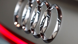 The logo of German car producer Audi is pictured on a Audi A6 50 quattro car in Ingolstadt, Germany, Thursday, March 15, 2018. (AP Photo/Matthias Schrader)