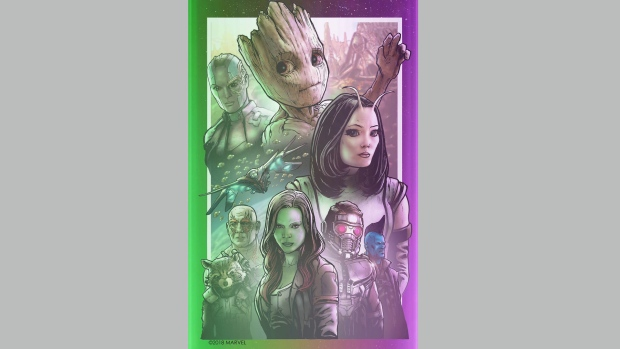 "An image depicting characters from the film ""Guardians of the Galaxy Vol. 2"" created by James Raiz of Toronto as part of an ""Avenger: Infinity War"" art installation is seen in this undated handout photo. It was nearly a superhero feat for Toronto artist James Raiz ahead of Friday's opening of ""Avengers: Infinity War."" THE CANADIAN PRESS/HO, Disney"