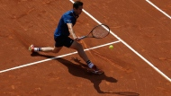 Guillermo Garcia Lopez returns the ball to Kei Nishikori of Japan during the Barcelona Open Tennis Tournament in Barcelona, Spain, Wednesday, April 25, 2018. (AP Photo/Manu Fernandez)