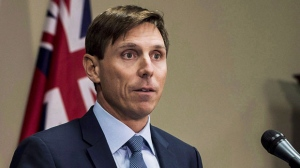 Ontario Progressive Conservative Leader Patrick Brown speaks at a press conference at Queen's Park in Toronto on January 24, 2018. (THE CANADIAN PRESS/Aaron Vincent Elkaim)
